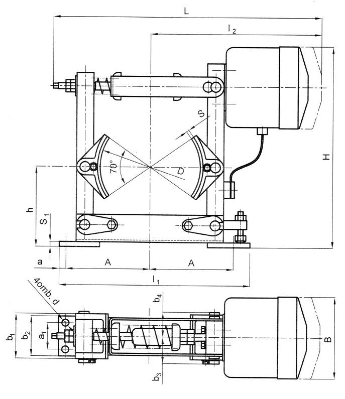 Тормоз ТКП с электромагнитом